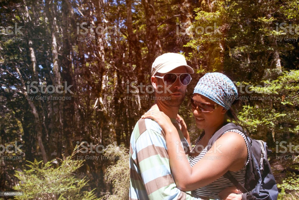 Young Couple in Forest, Summer stock photo