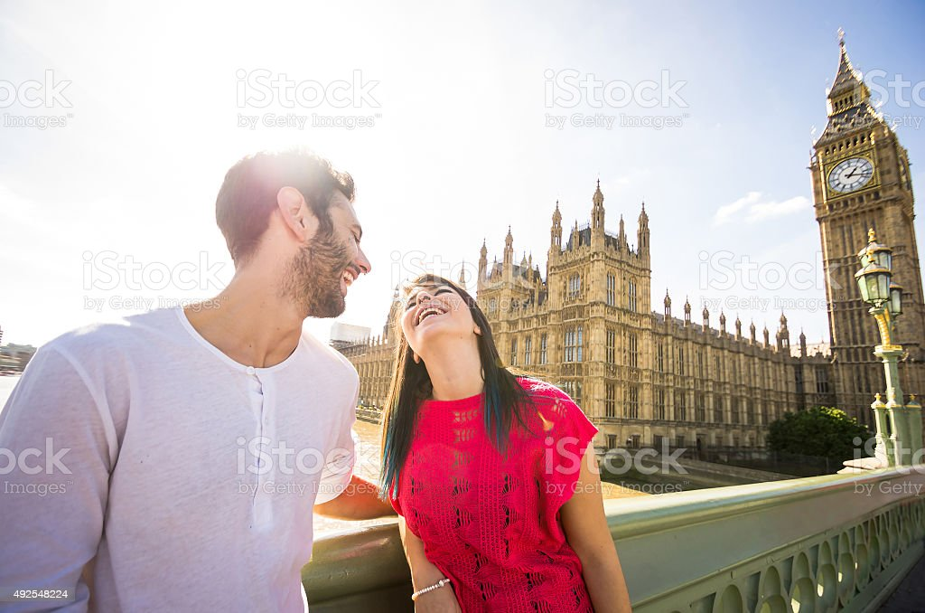 Young couple in front of the Big Ben stock photo