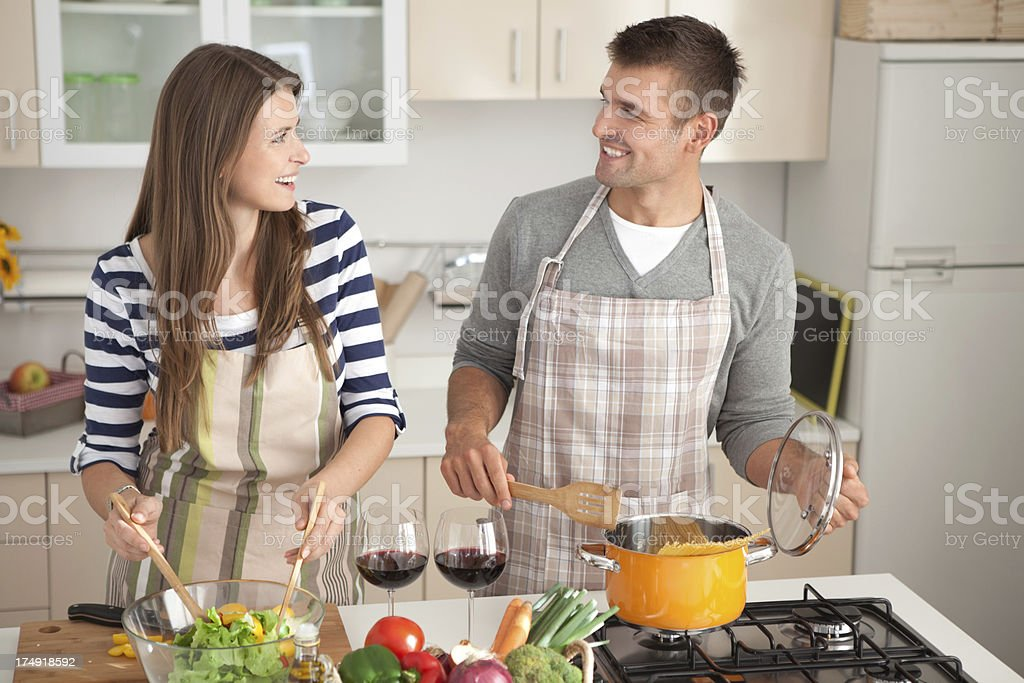 Young couple in kitchen. royalty-free stock photo
