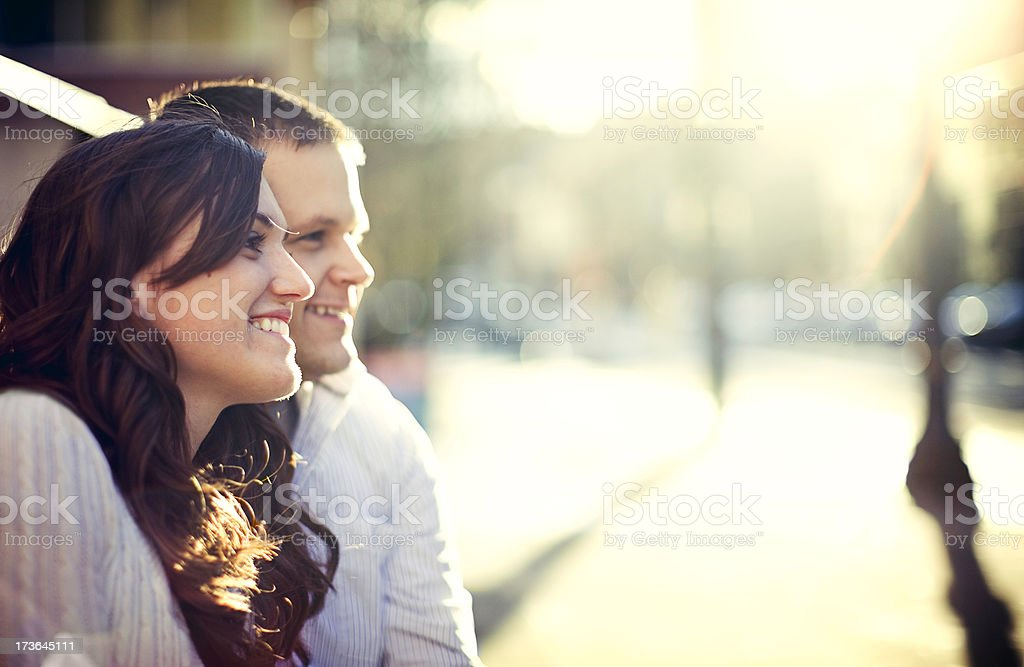 Young Couple in Love at Sunset royalty-free stock photo