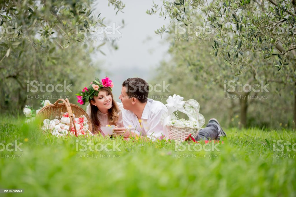 Young Couple In Love During Wedding Preparation stock photo