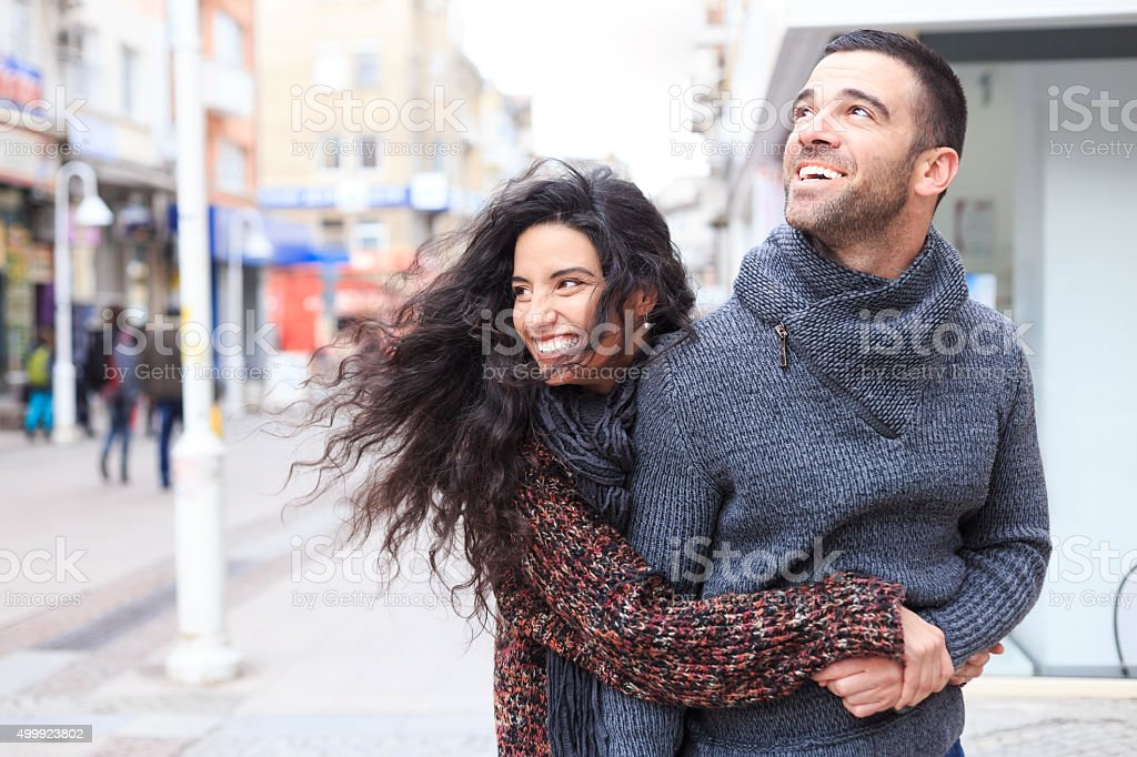Young couple in love embrace stock photo