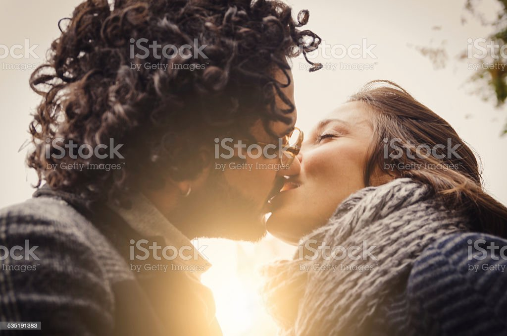Young Couple In Love Kissing stock photo