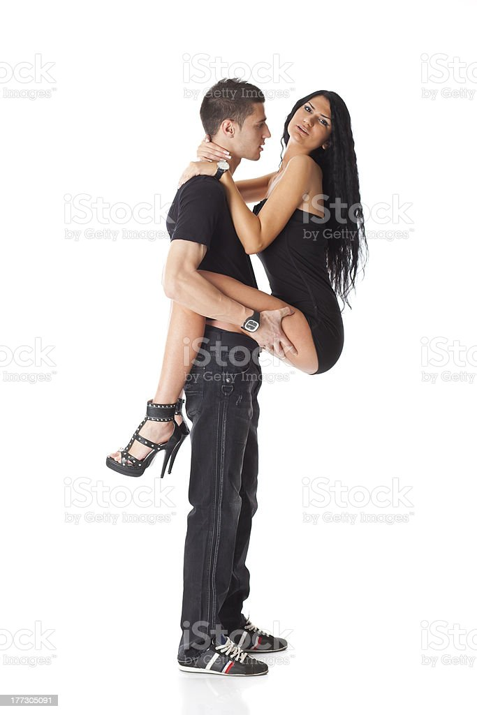 Young Couple In Love - Mans Holdin Woman stock photo