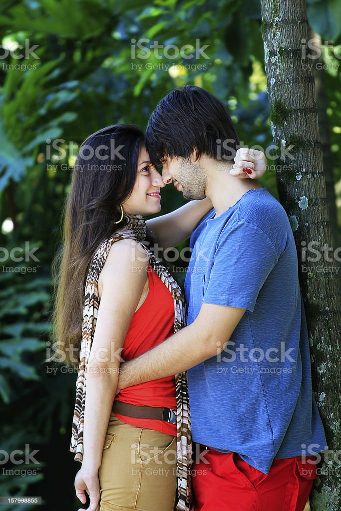 Young couple in love on the park royalty-free stock photo