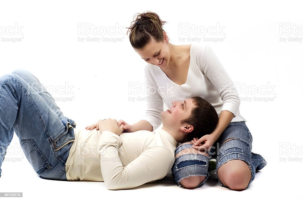 young couple in love stock photo