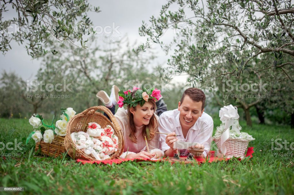Young Couple In Love Planning Romantic Wedding stock photo