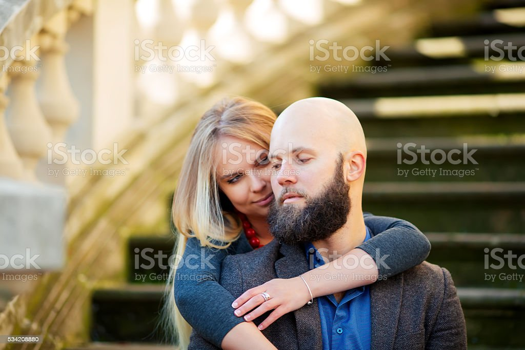 young couple in love, stylishly dressed royalty-free stock photo