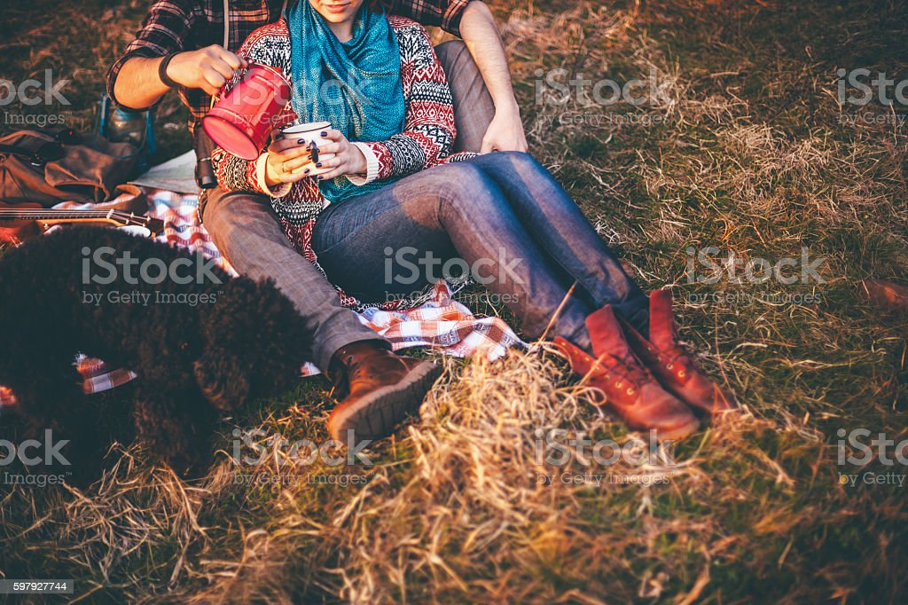 Young couple In love with nature and camping stock photo