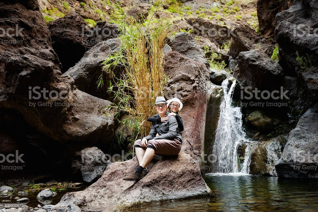 Young couple in Masca Valley stock photo