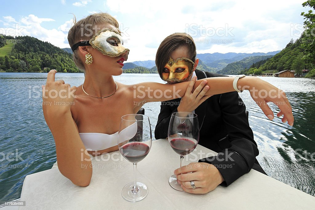 Young couple in masks royalty-free stock photo