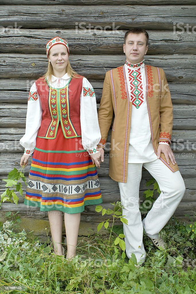 Young couple in national garb of Belarus. royalty-free stock photo