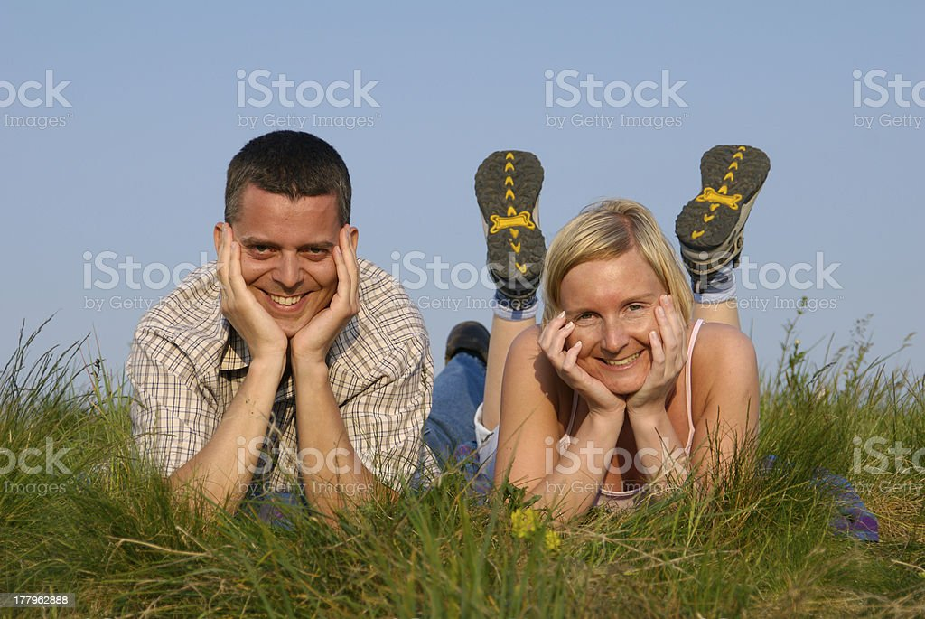 Young couple in nature royalty-free stock photo