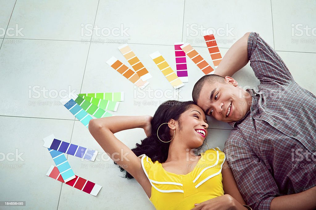 Young couple in new home royalty-free stock photo
