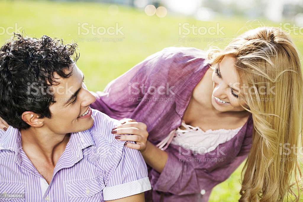 Young couple  in park. royalty-free stock photo