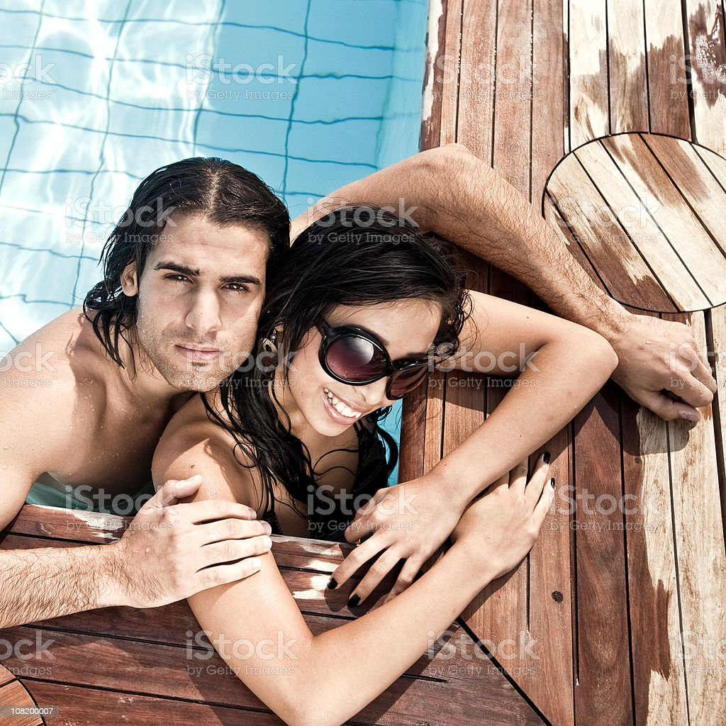 Young Couple in Pool royalty-free stock photo