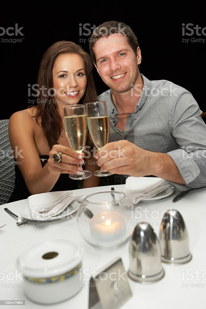 Young couple in restaurant royalty-free stock photo