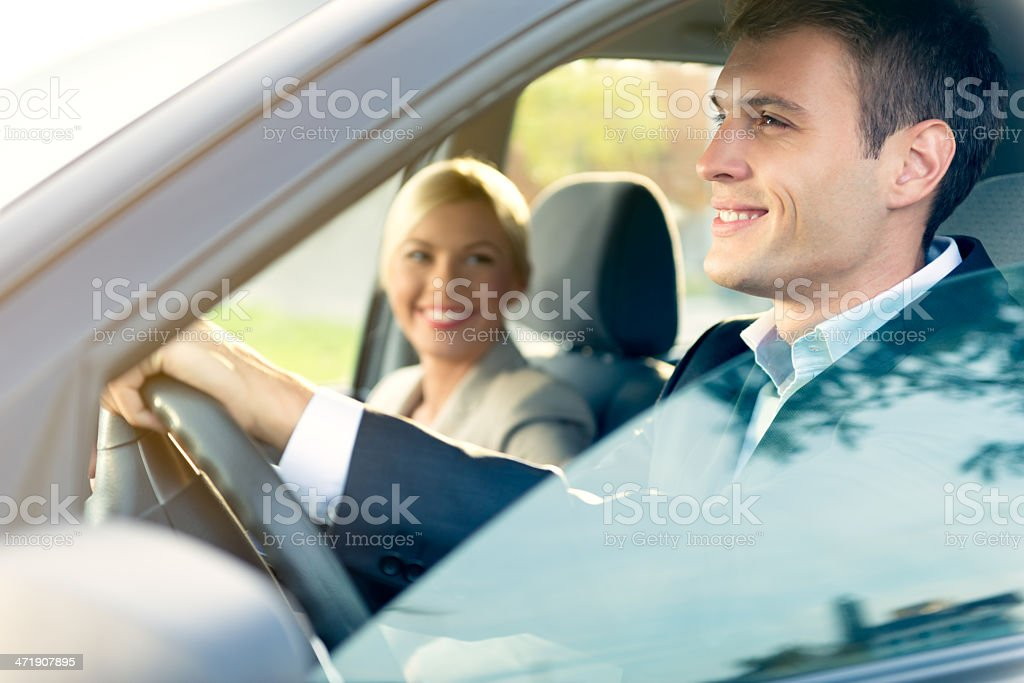 Young couple in the car royalty-free stock photo