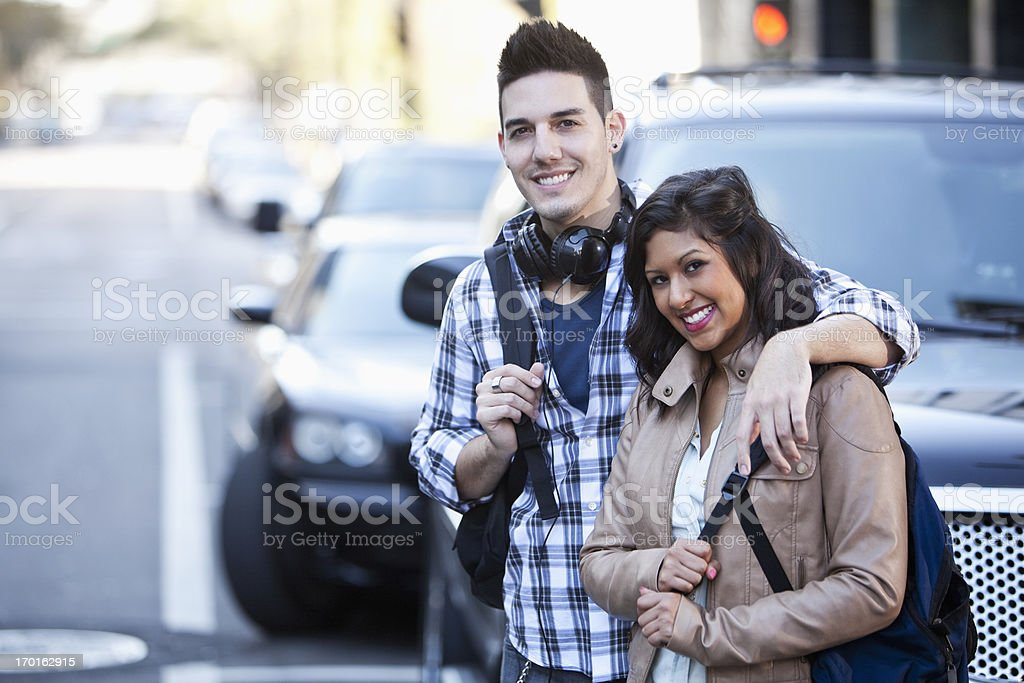 Young couple in the city stock photo