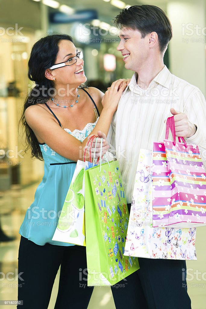 Young couple in the mall royalty-free stock photo