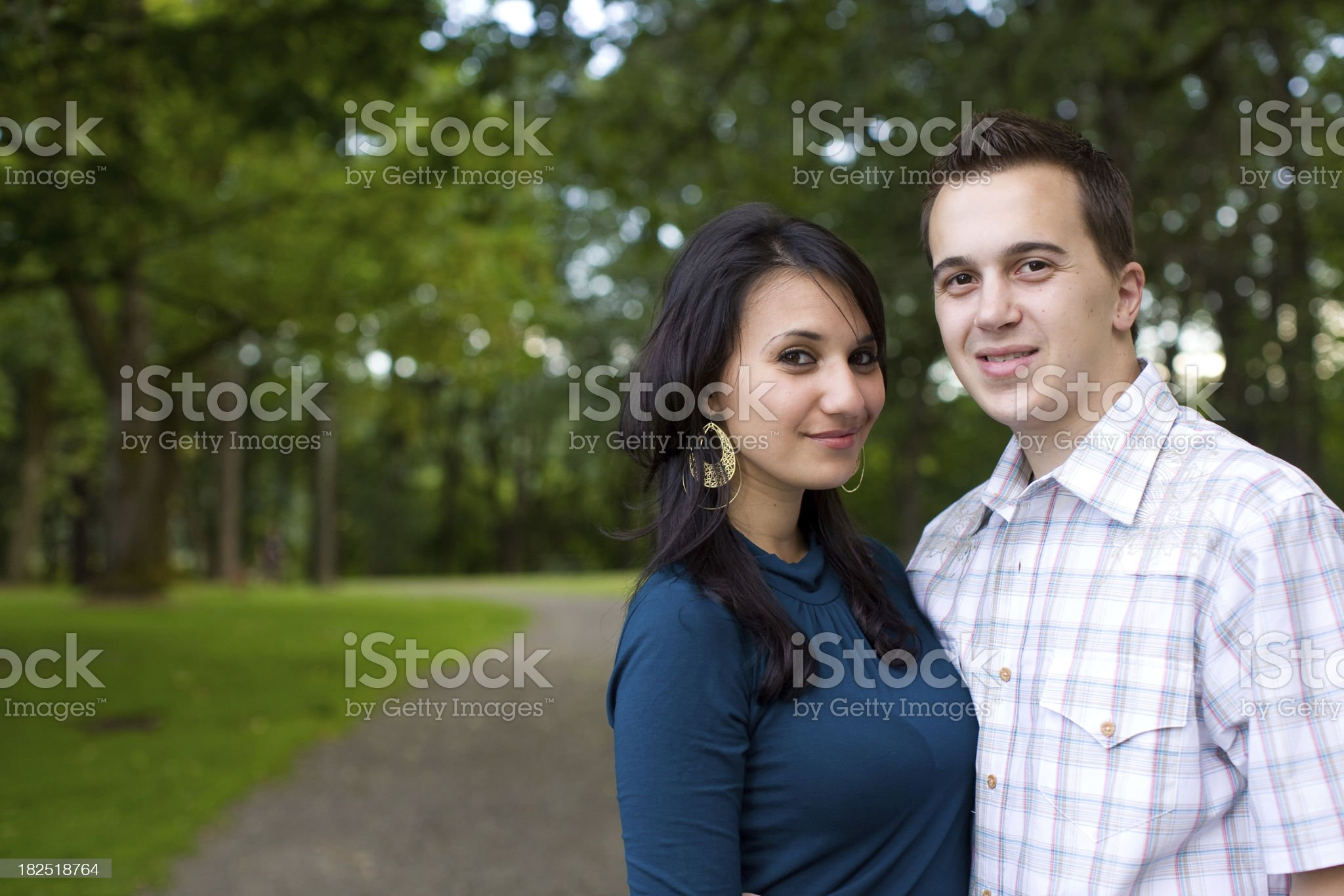 young couple in the park royalty-free stock photo