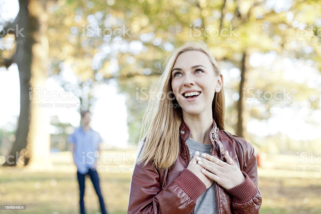 Young Couple in the park. stock photo
