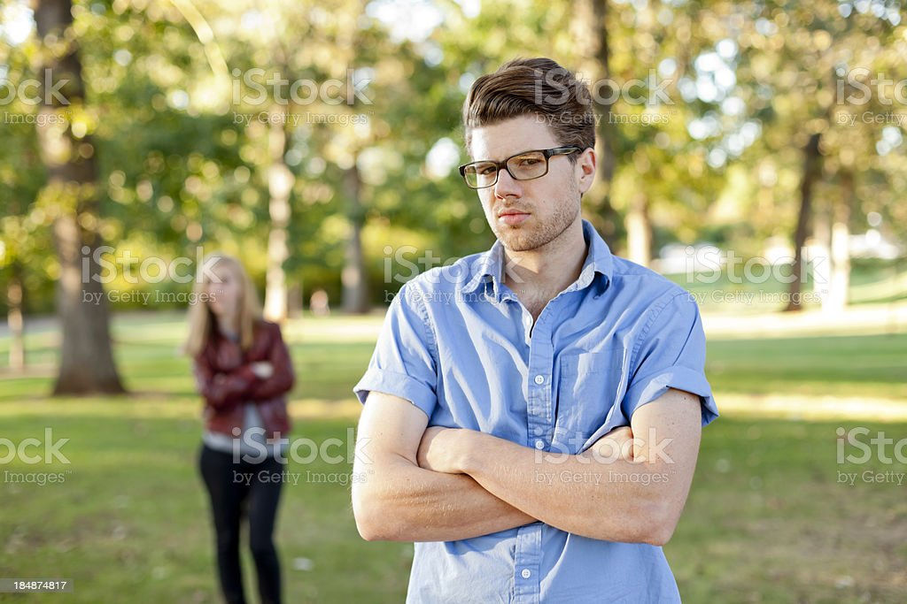 Young Couple in the park.  Relationship Troubles. royalty-free stock photo