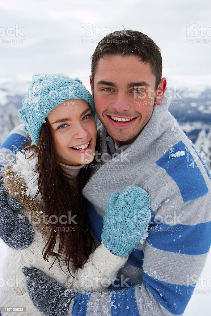 Young Couple In The Snow royalty-free stock photo