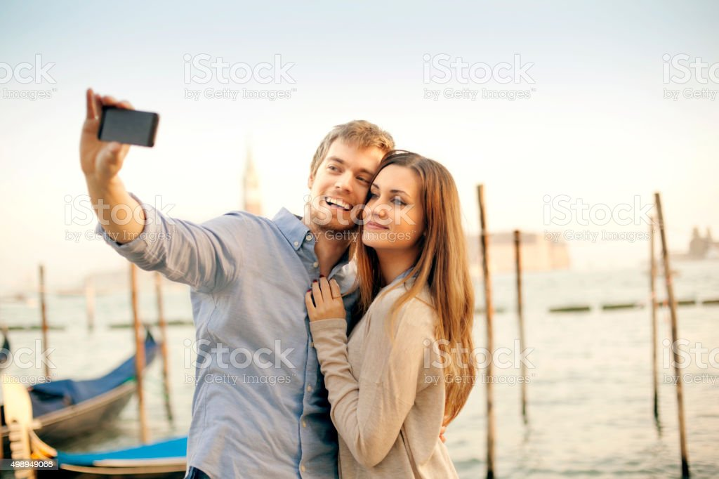 Young couple in Venice stock photo
