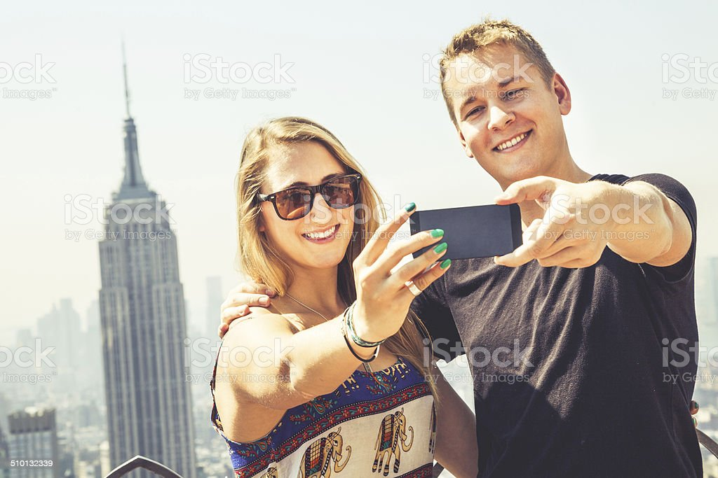 Young couple in visit to New York stock photo