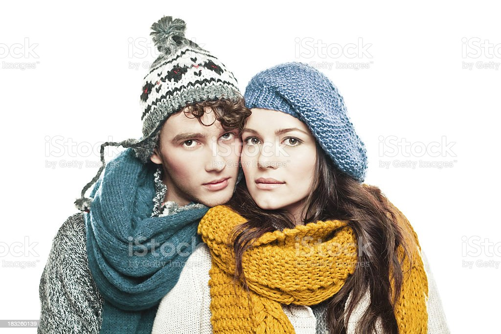 Young couple in winter clothes royalty-free stock photo