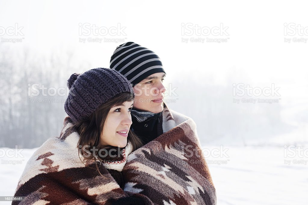 Young couple in winter royalty-free stock photo