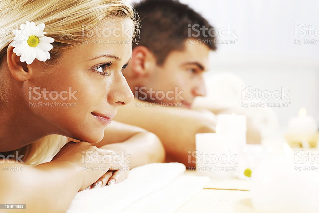 Young couple is enjoying at spa centre. royalty-free stock photo