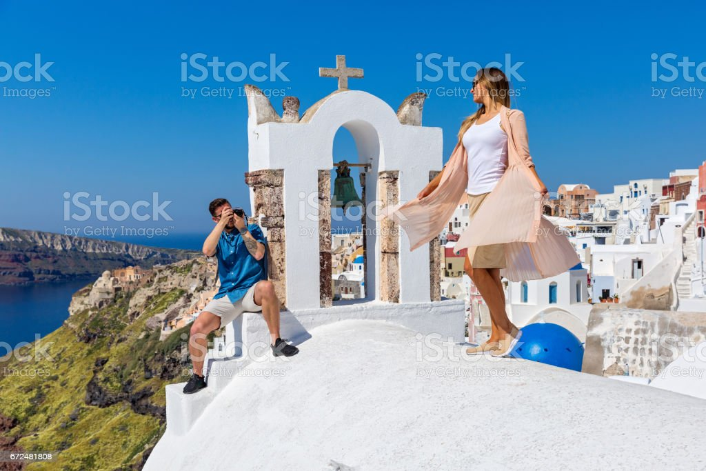 Young couple is photographed on  Santorini stock photo
