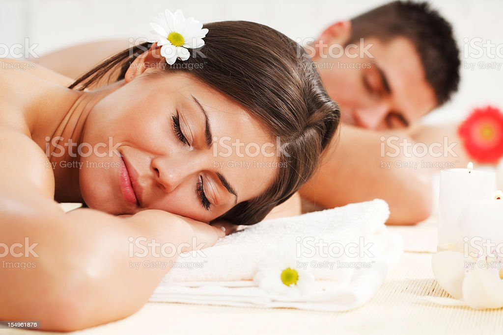 Young couple is resting at the spa centre. royalty-free stock photo
