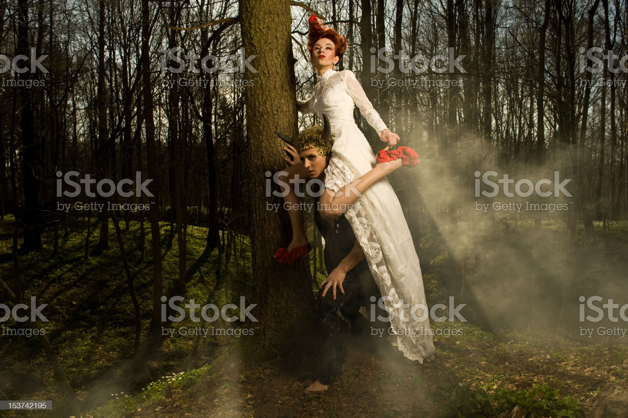 Young Couple is standing in the woods royalty-free stock photo