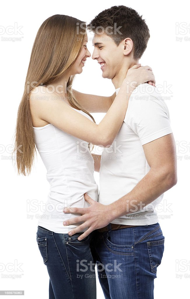 Young couple isolated on white background royalty-free stock photo