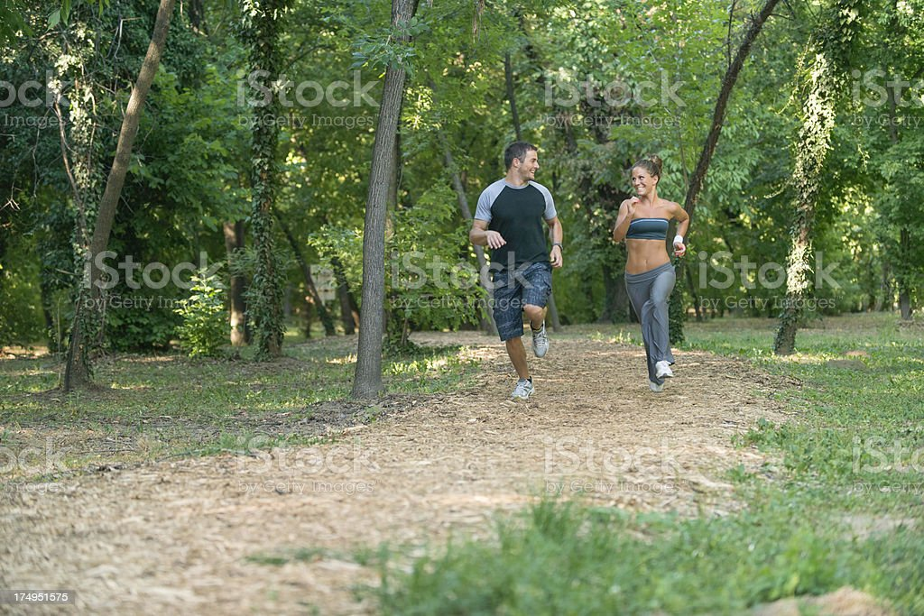 Young couple jogging royalty-free stock photo