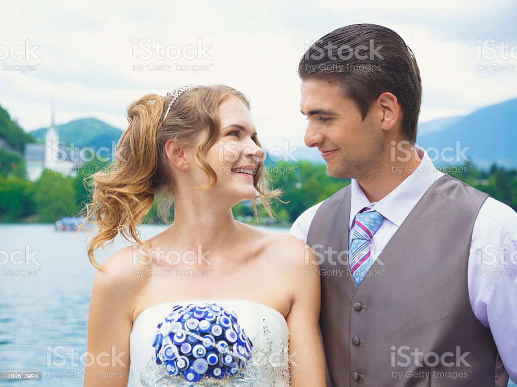Young couple just married stock photo