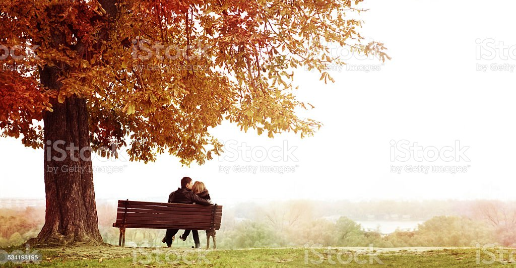 Young Couple Kissing on a Bench under the Huge Chestnut . stock photo