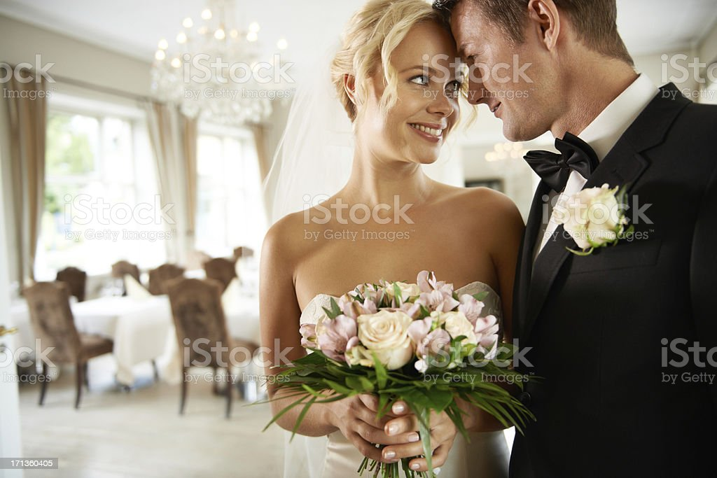 Young couple looking into each other's eyes stock photo