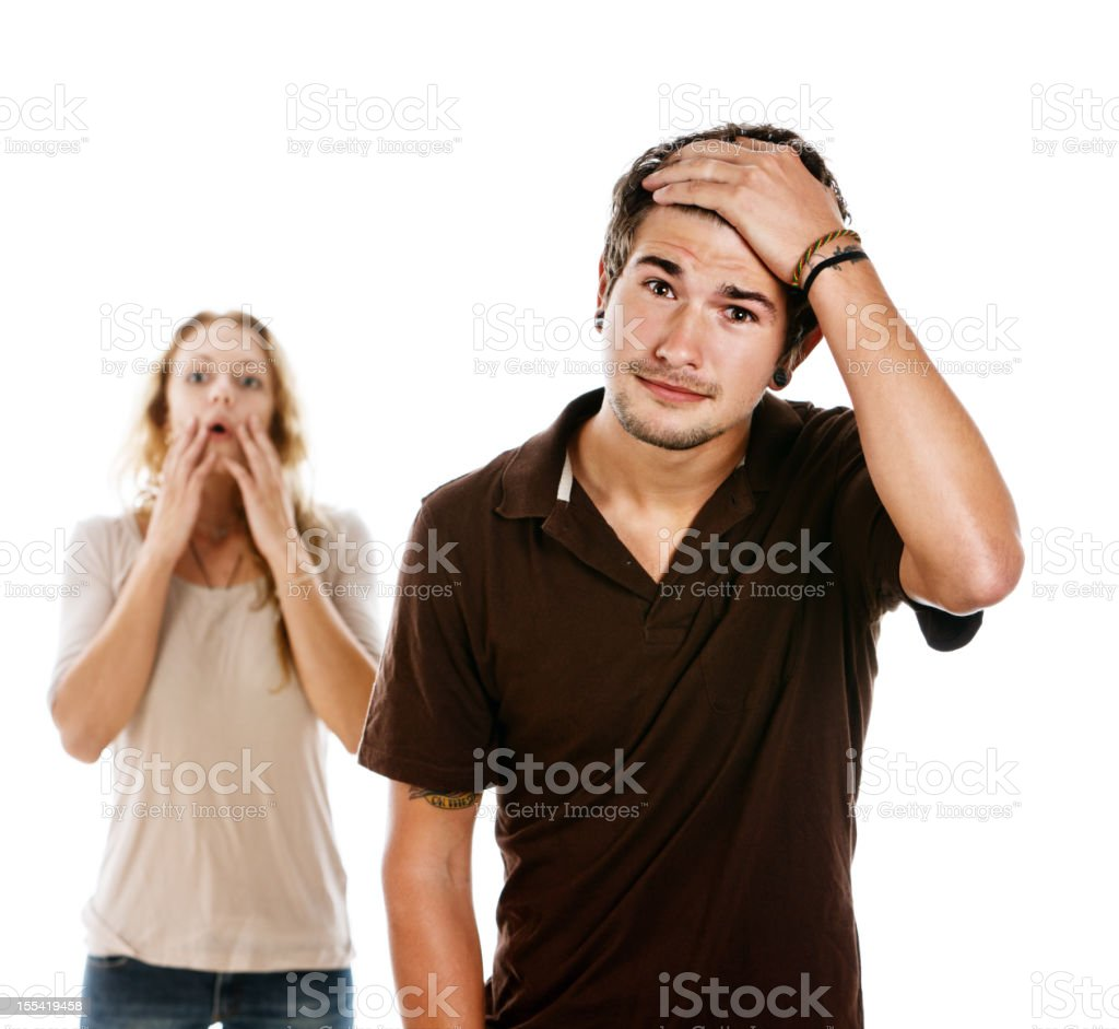 Young couple looking really woried stock photo