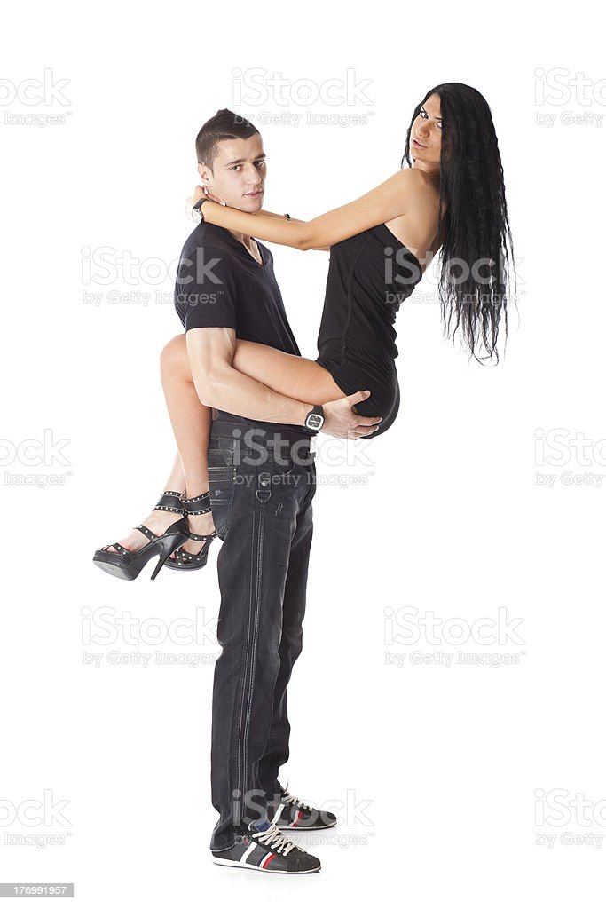 Young Couple Love - Woman In Mans Hand stock photo