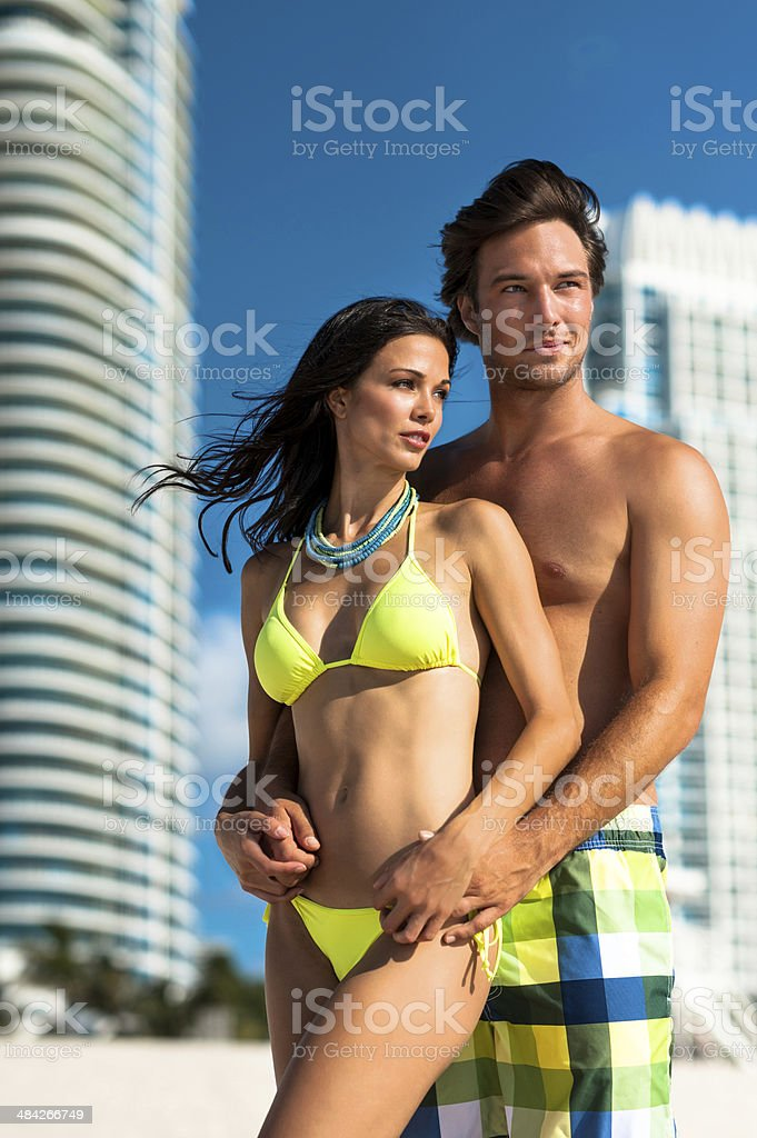 Young Couple Man and Woman at Beach stock photo