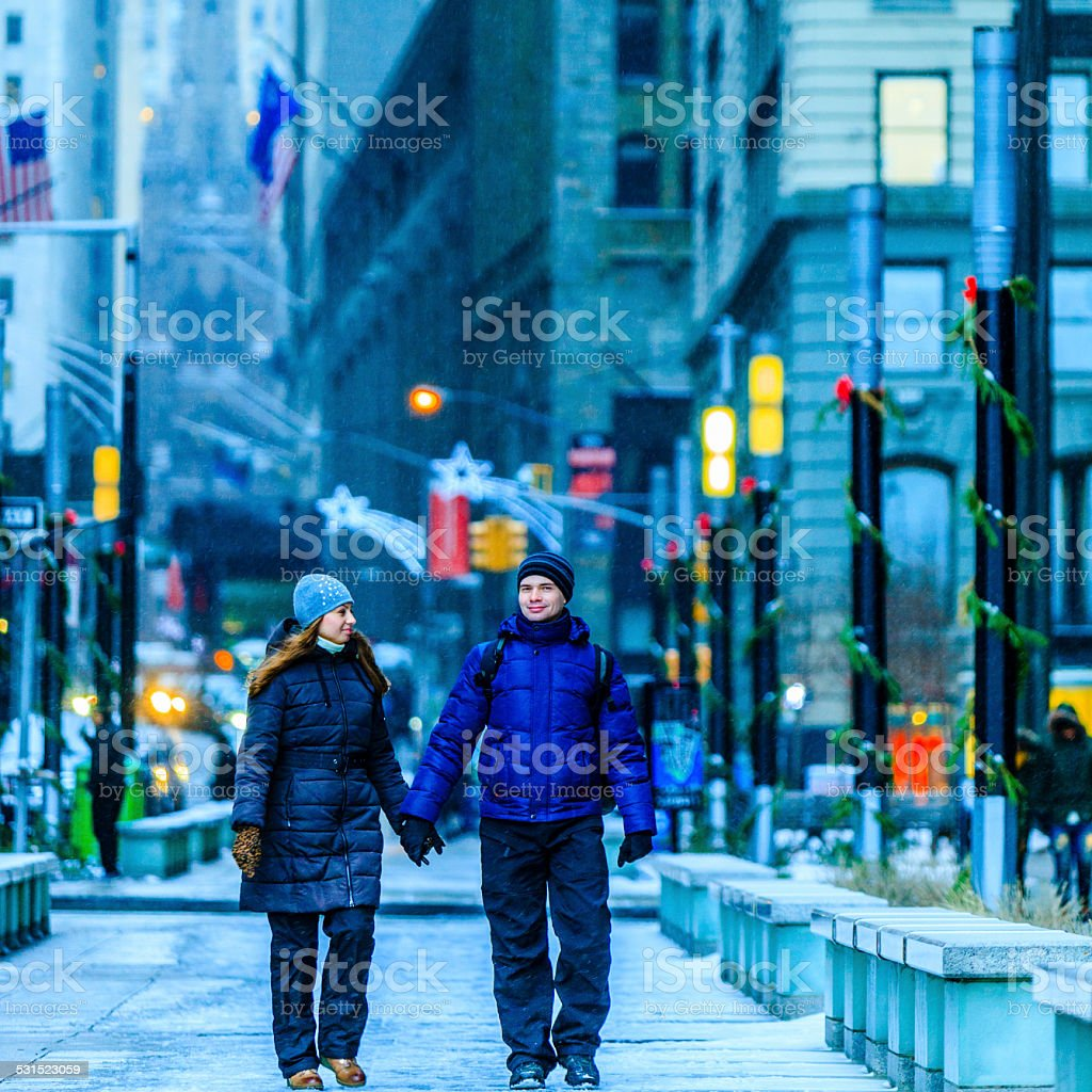 Young couple, man and woman, in the Manhattan stock photo
