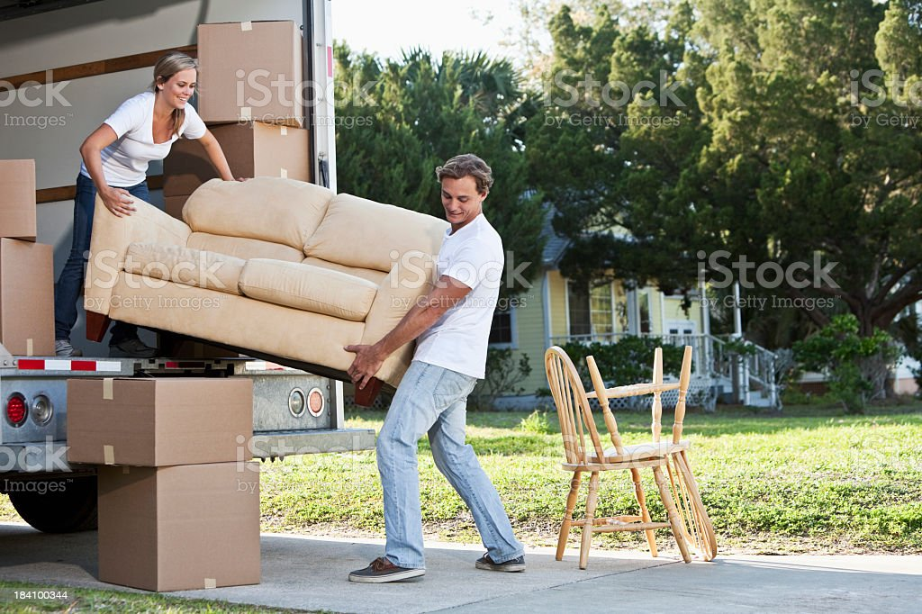 Young couple moving house royalty-free stock photo