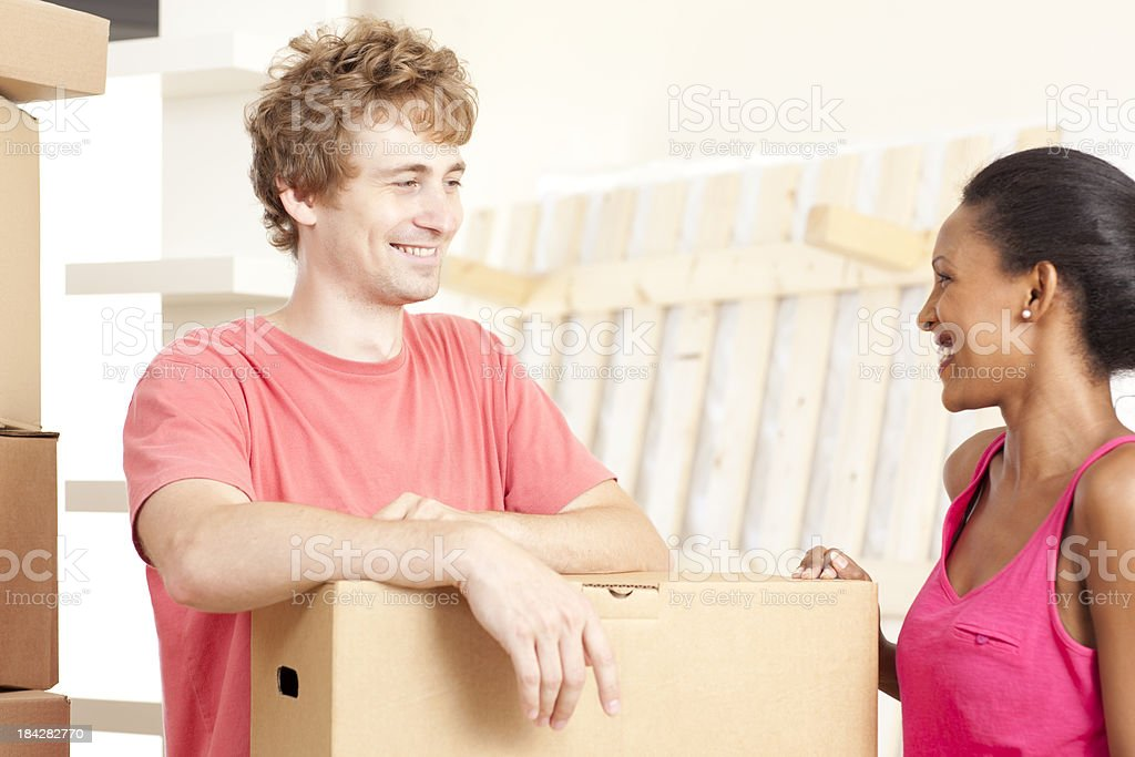 Young couple moving house. royalty-free stock photo