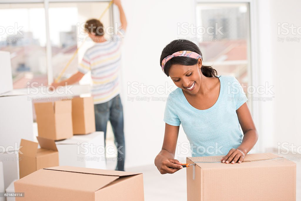 Young couple moving house. stock photo