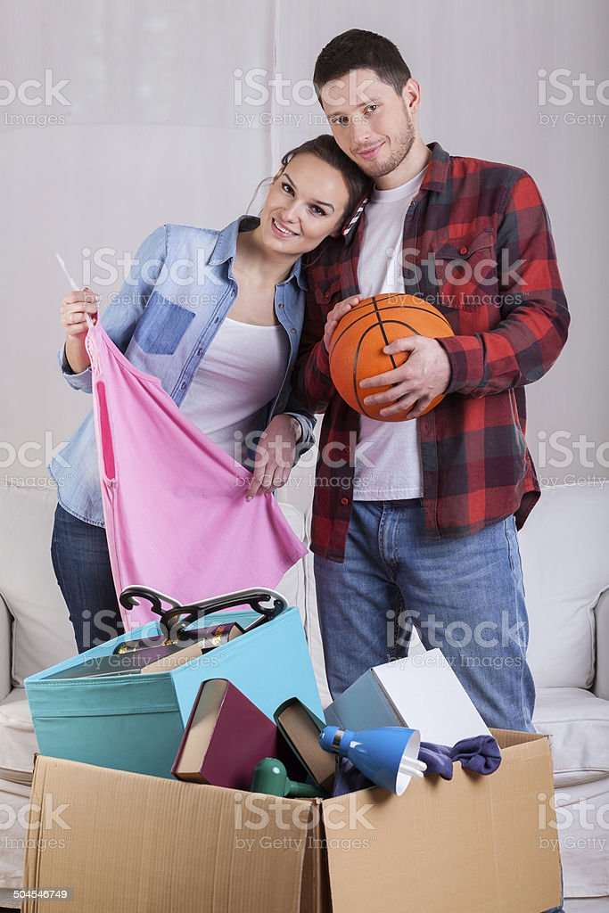 Young couple moving out stock photo