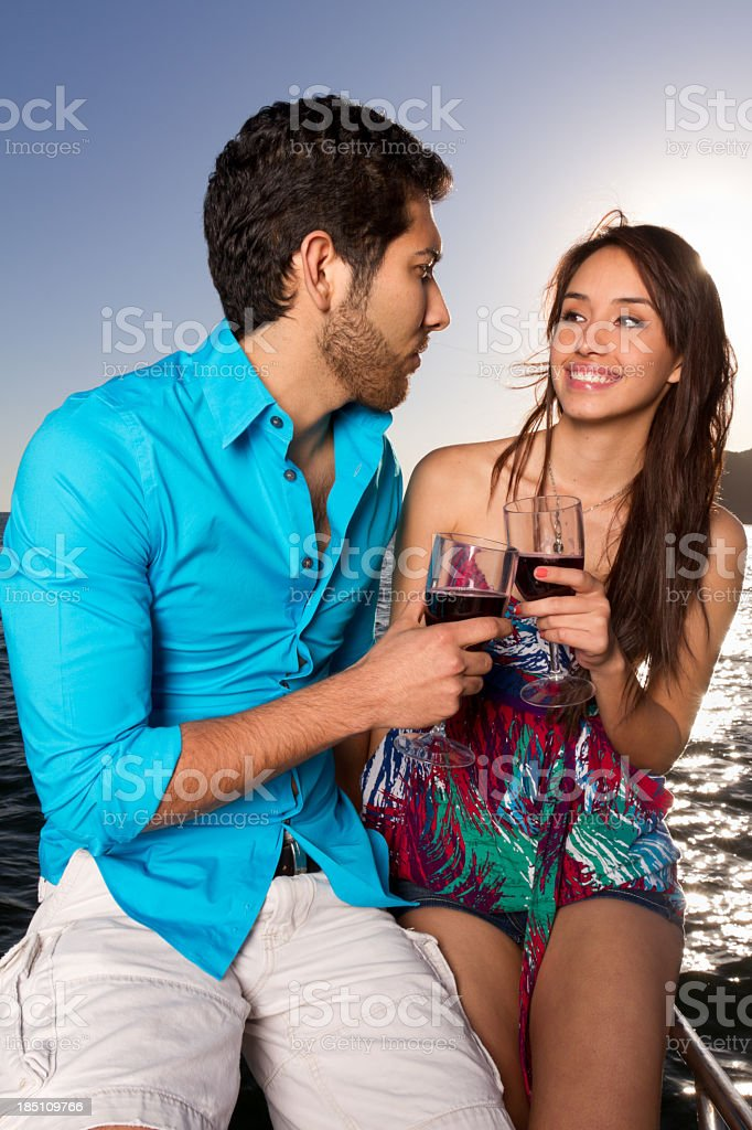 Young Couple on a Boat royalty-free stock photo